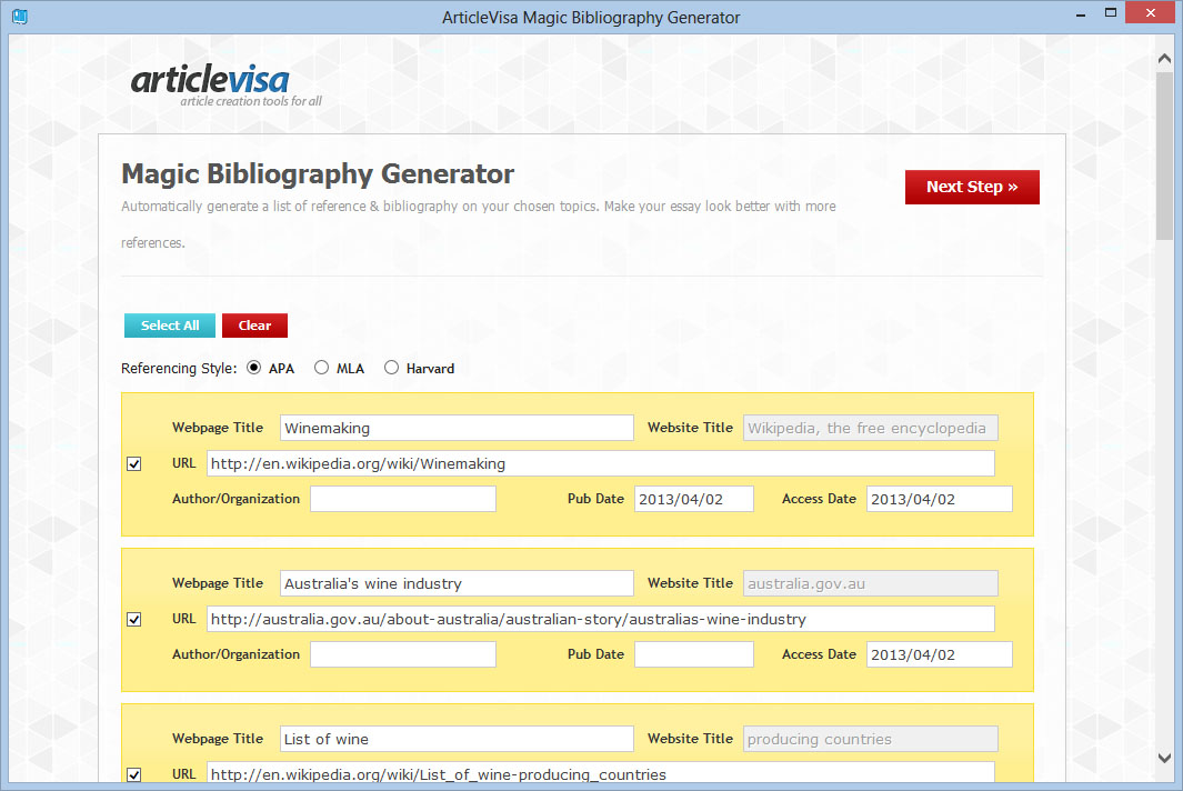 Magic Bibliography Generator Screen shot
