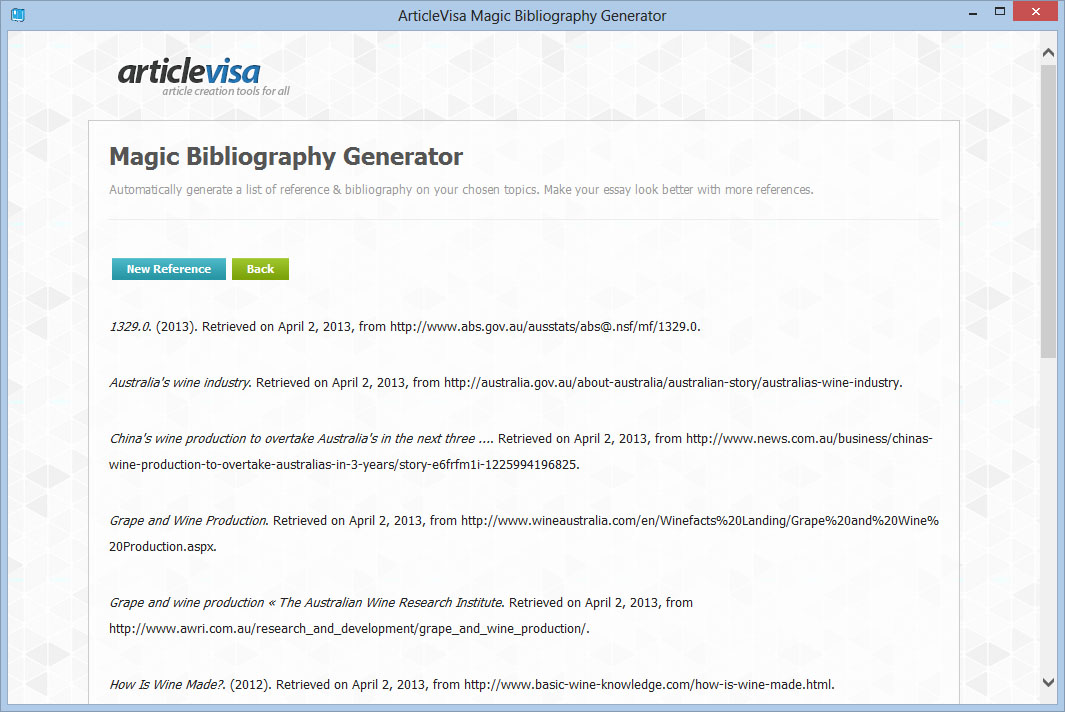 magic bibliography generator auto citation reference articlevisa product screenshot