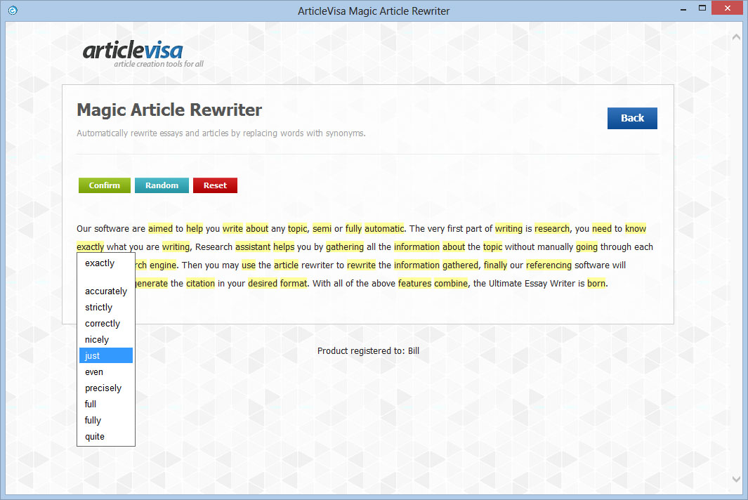 Magic Article Rewriter Screen shot